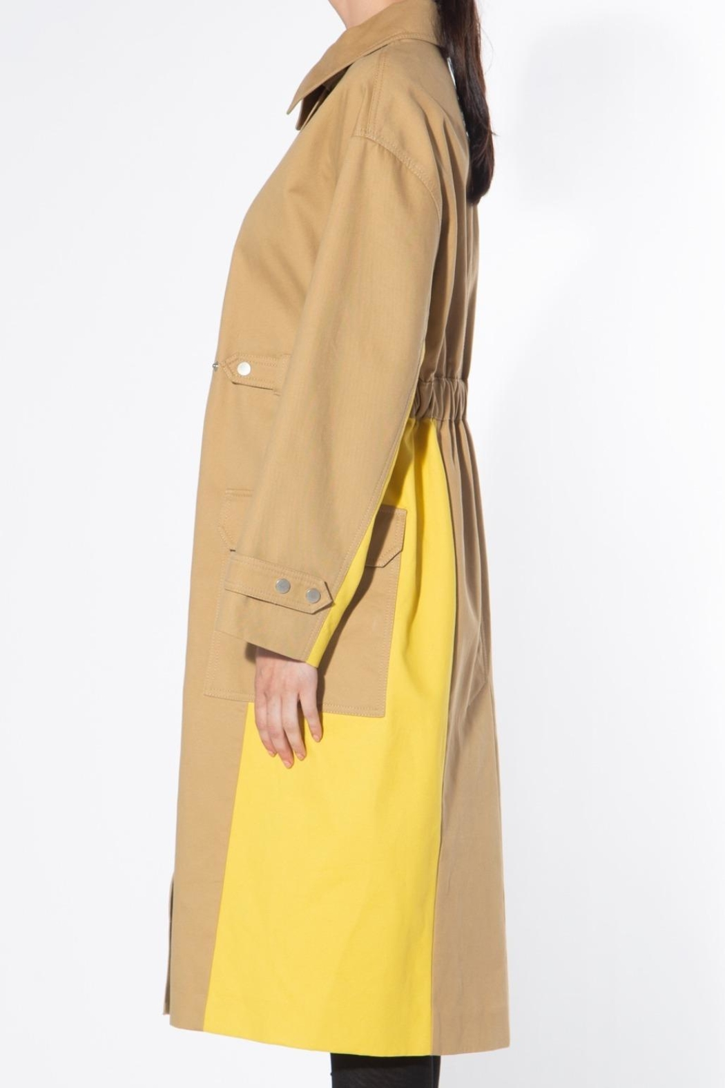 BEULAH STYLE Two Tone Trench Coat - Back Cropped Image