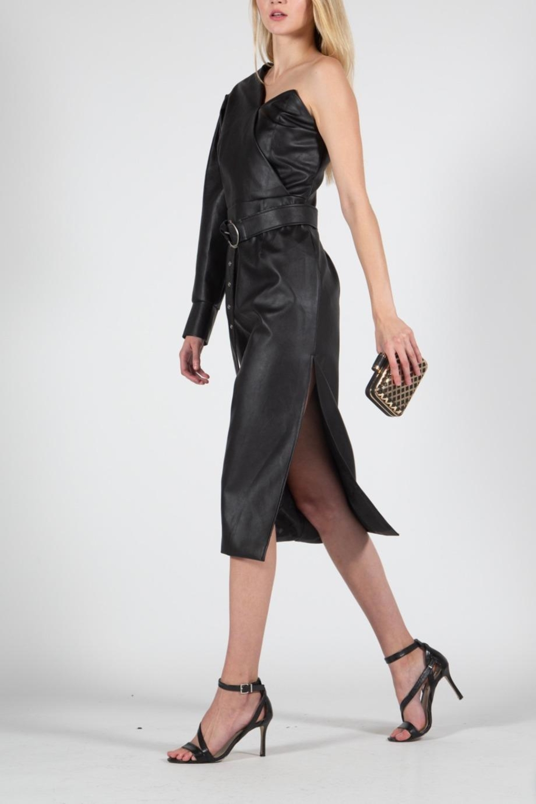 BEULAH STYLE Vegan Leather Dress - Side Cropped Image