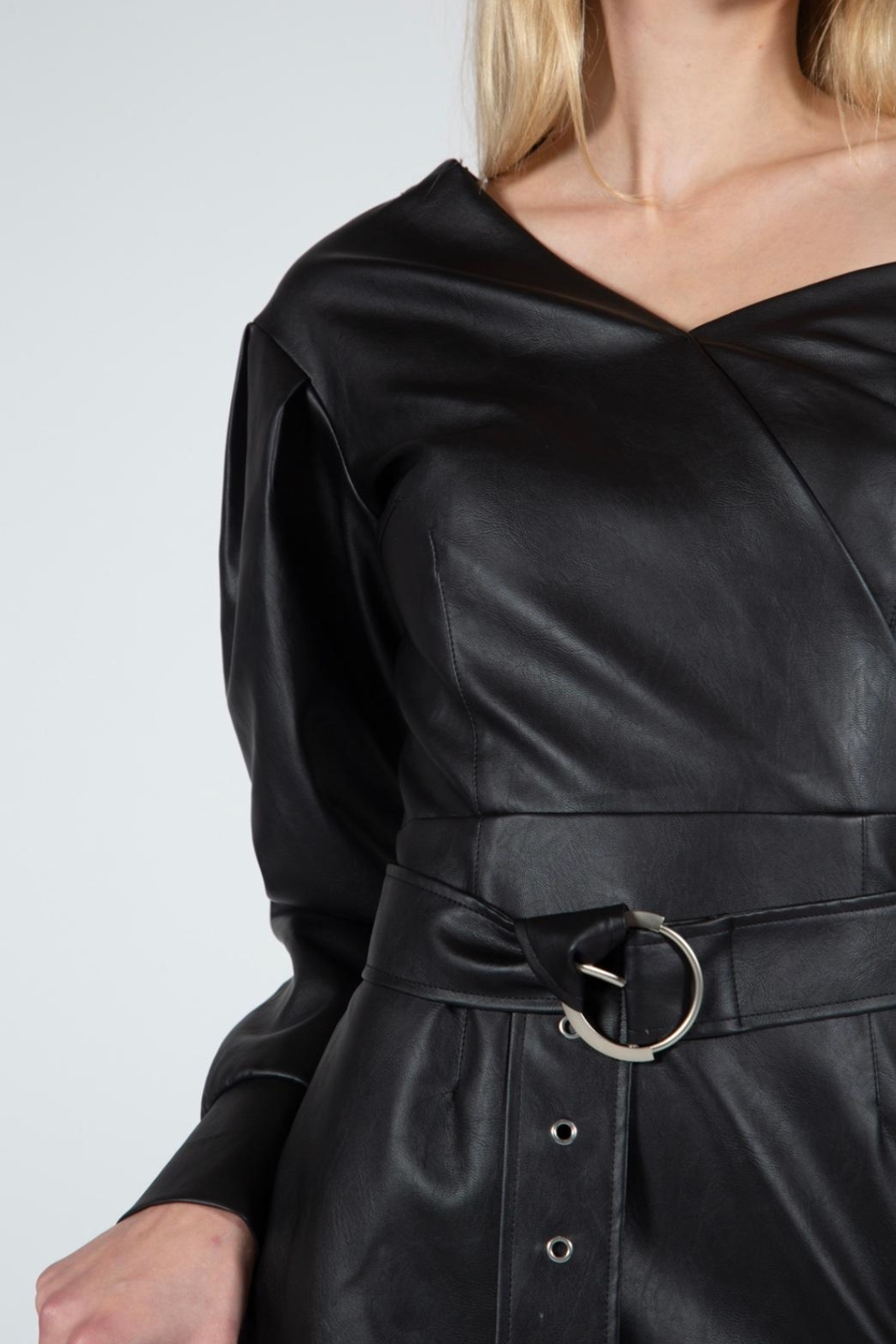 BEULAH STYLE Vegan Leather Dress - Front Full Image