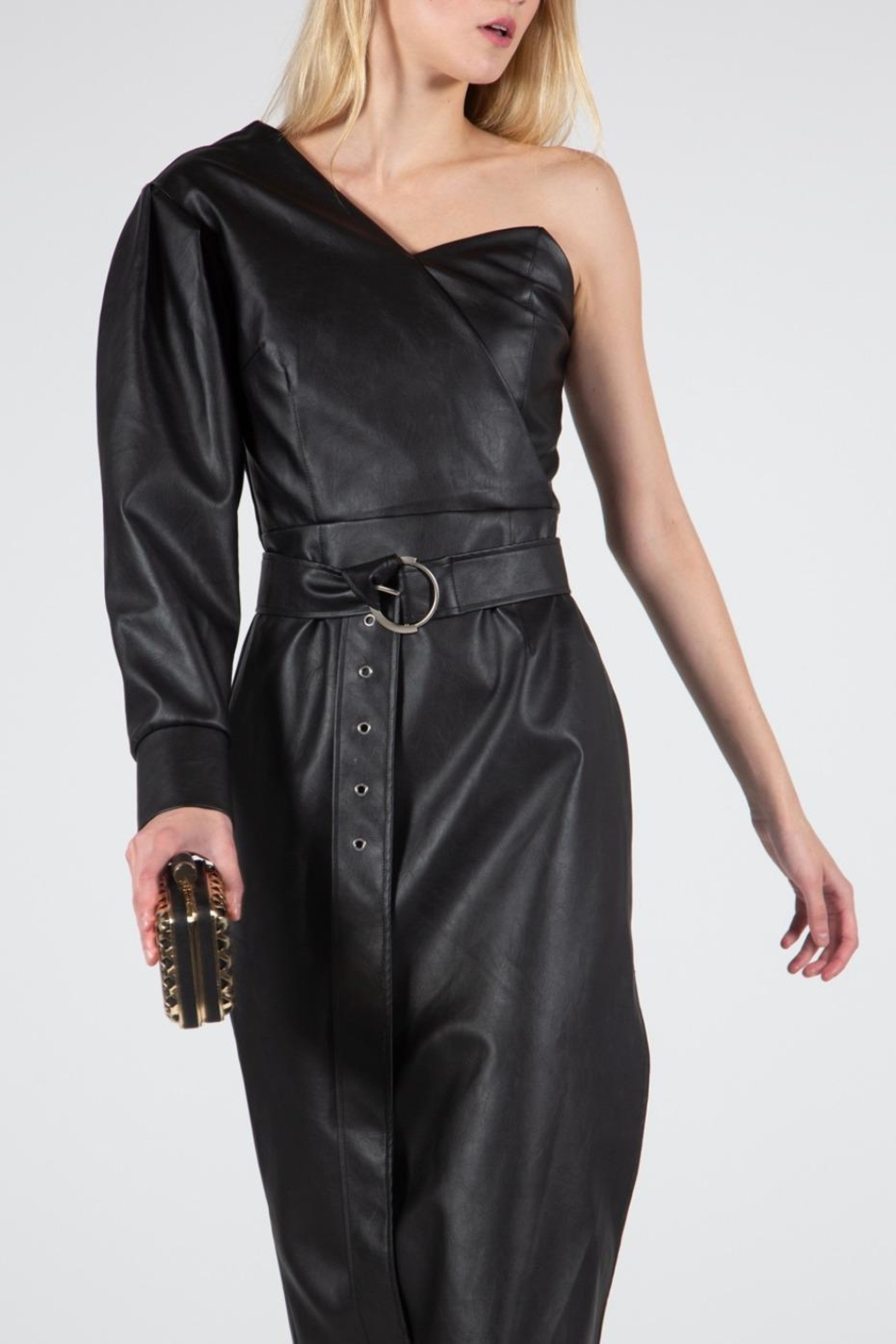 BEULAH STYLE Vegan Leather Dress - Back Cropped Image