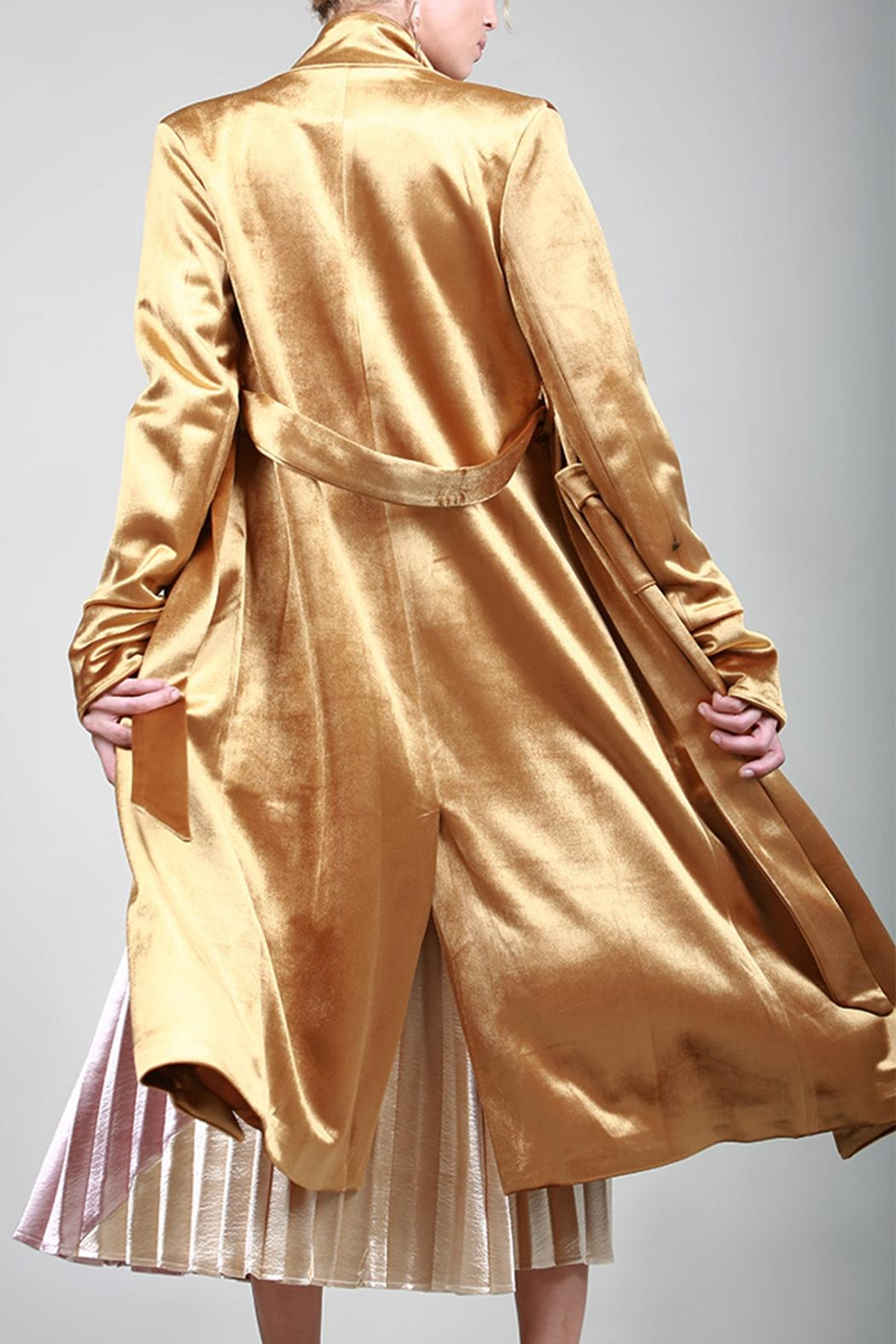 BEULAH STYLE Velvet Trench Coat - Front Cropped Image