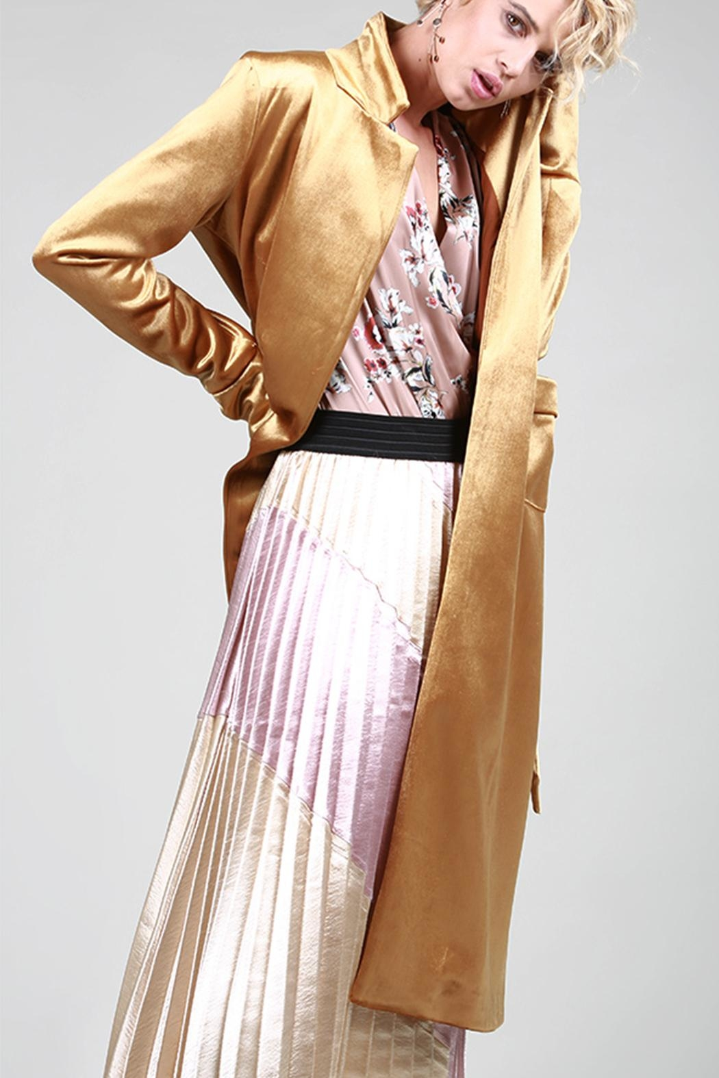 BEULAH STYLE Velvet Trench Coat - Back Cropped Image