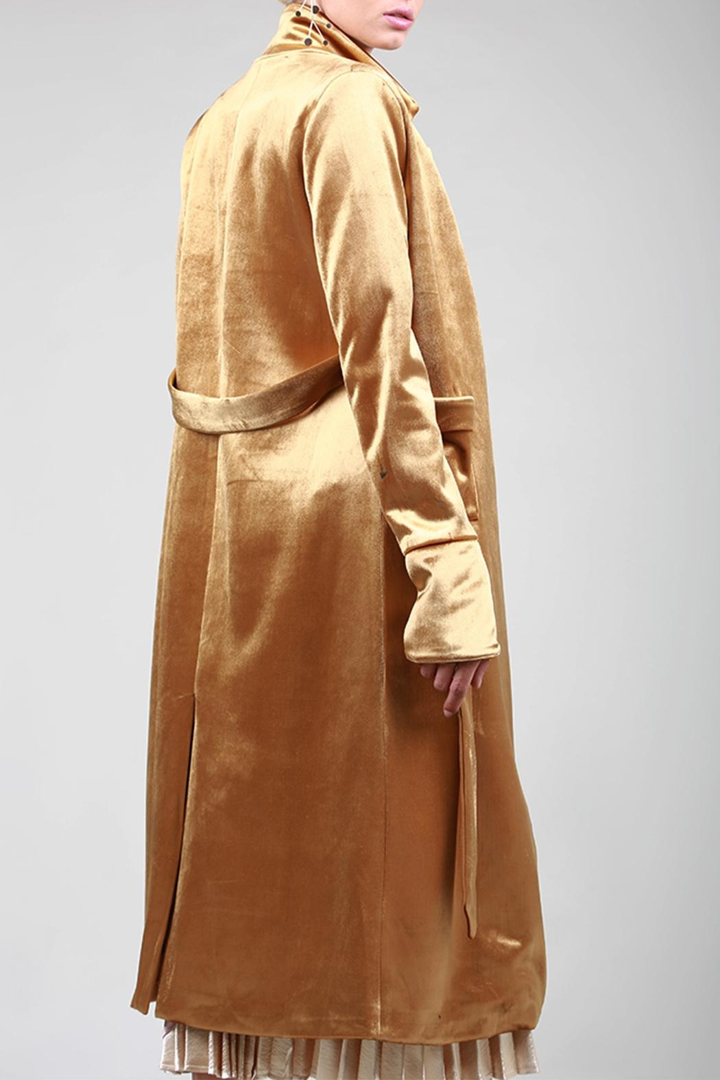 BEULAH STYLE Velvet Trench Coat - Side Cropped Image