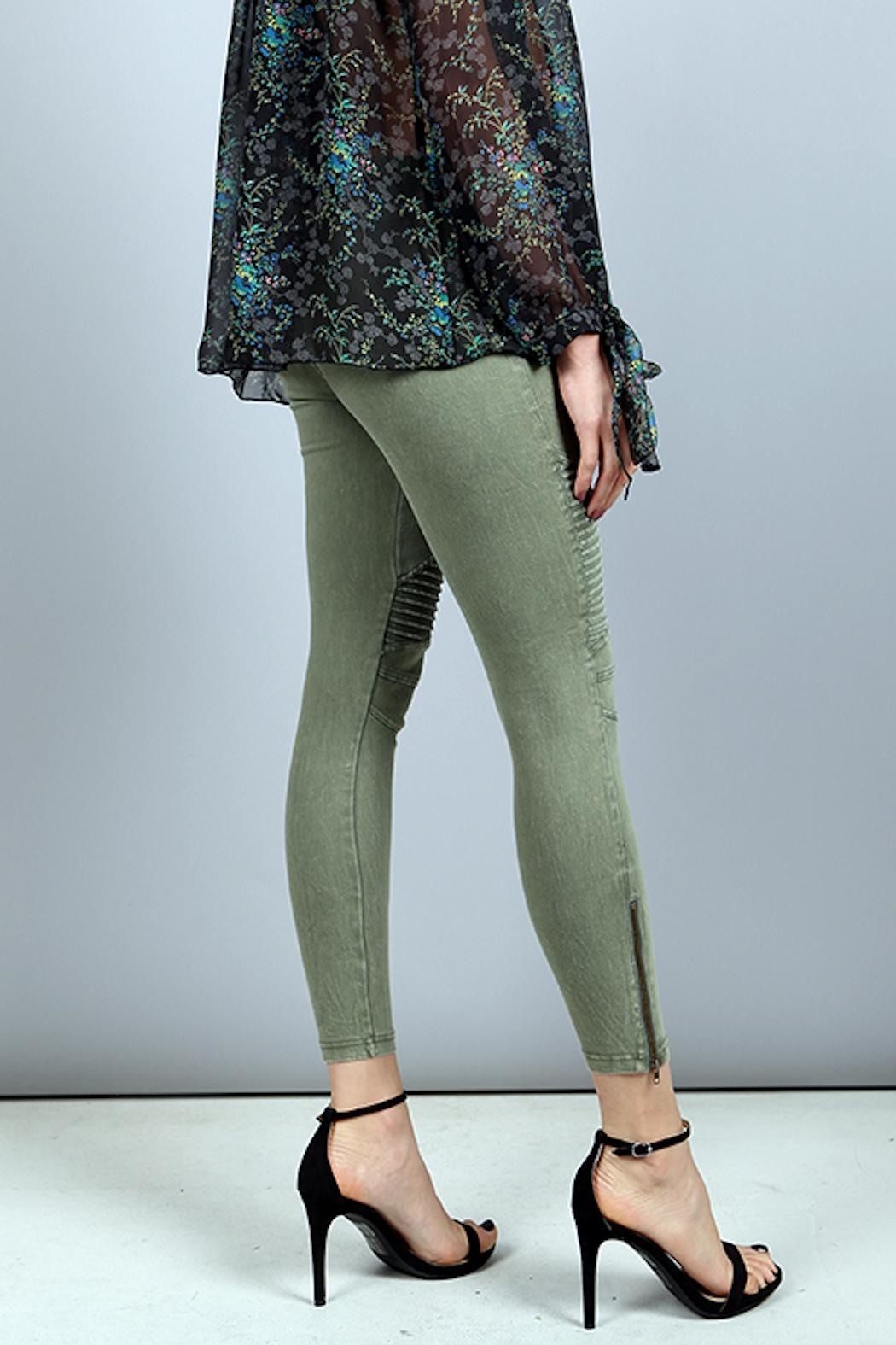 BEULAH STYLE Zip Moto Jeggings - Front Full Image