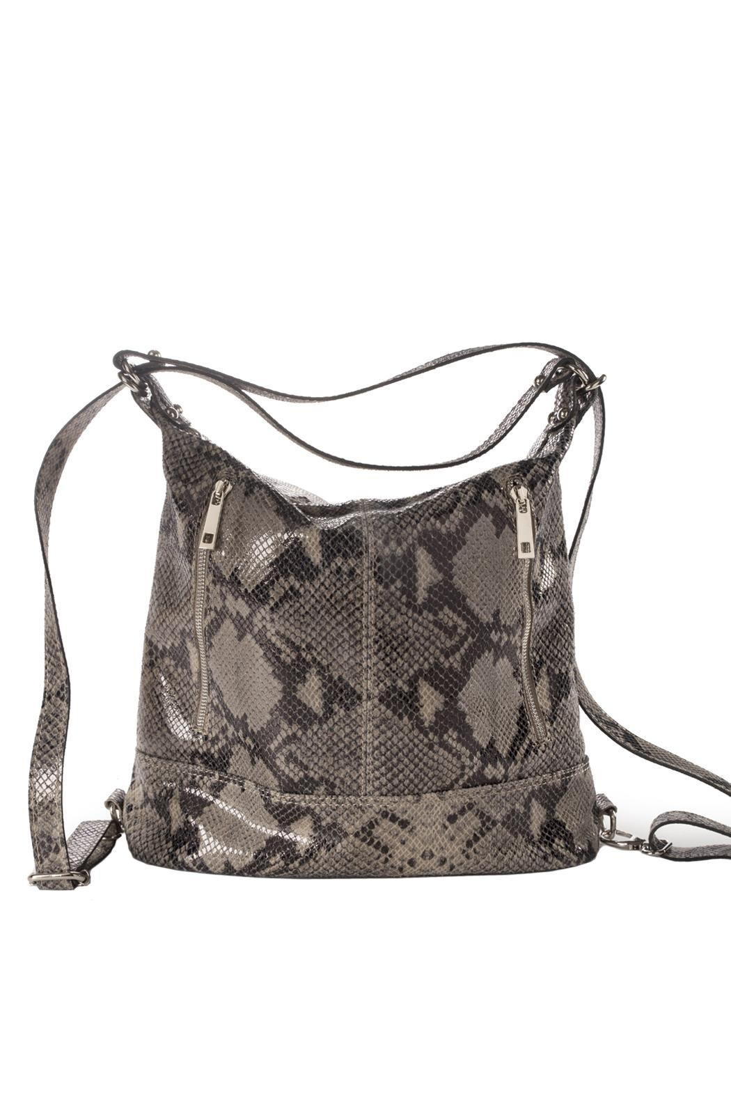 Bevini Modena Python Convertible Backpack-Tote - Front Cropped Image