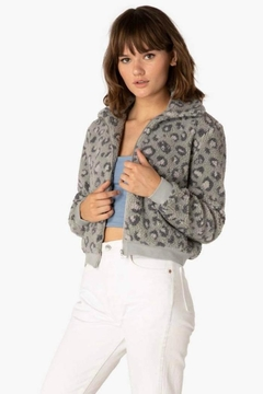 Beyond Yoga All Time Grey Leopard Bomber - Product List Image