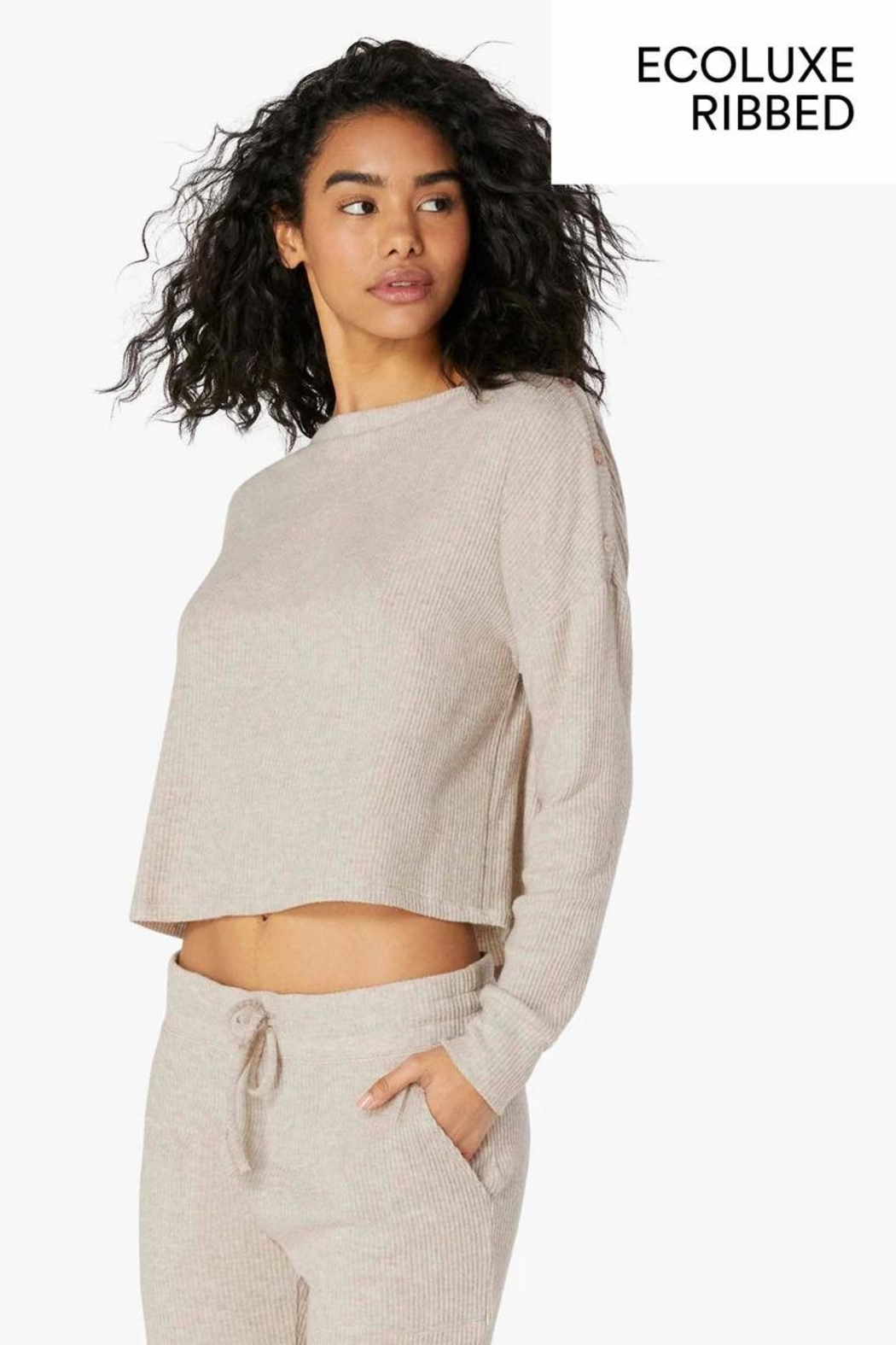Beyond Yoga Buttoned Boxy Pullover - Front Cropped Image