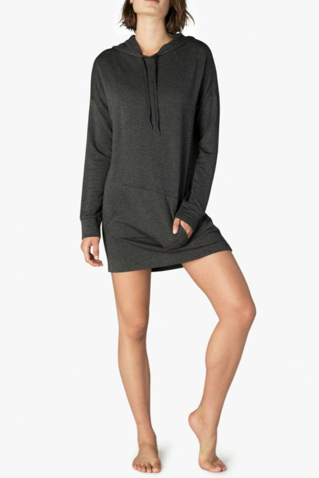Beyond Yoga Cozy Hoodie Dress - Front Cropped Image