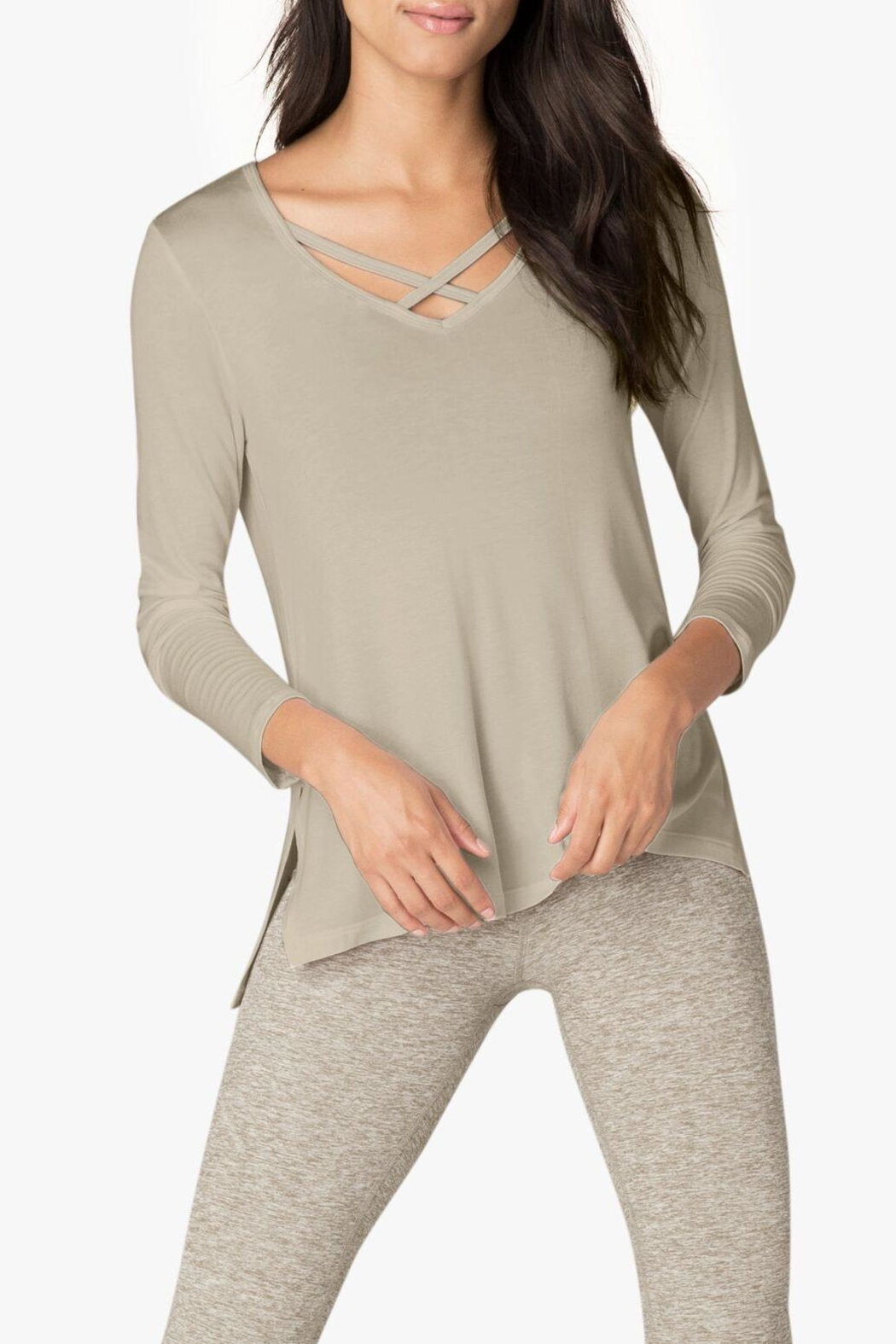 Beyond Yoga Criss-Cross Pullover - Front Cropped Image