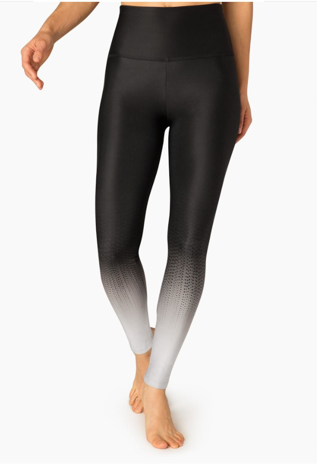 Beyond Yoga Ombre Black Leggings - Front Cropped Image