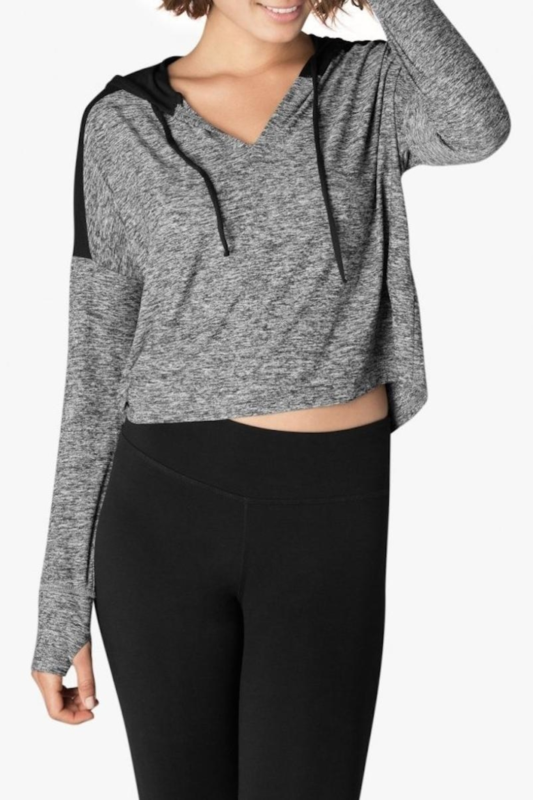 Beyond Yoga Spacedye Cropped Hoodie - Front Cropped Image