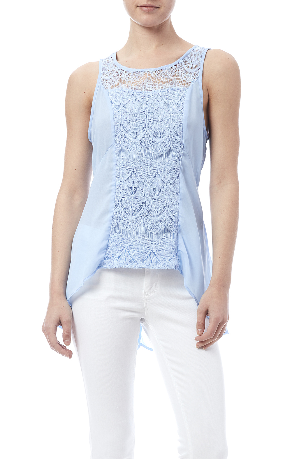 BeYoutiful Blue Lace Tank - Front Cropped Image