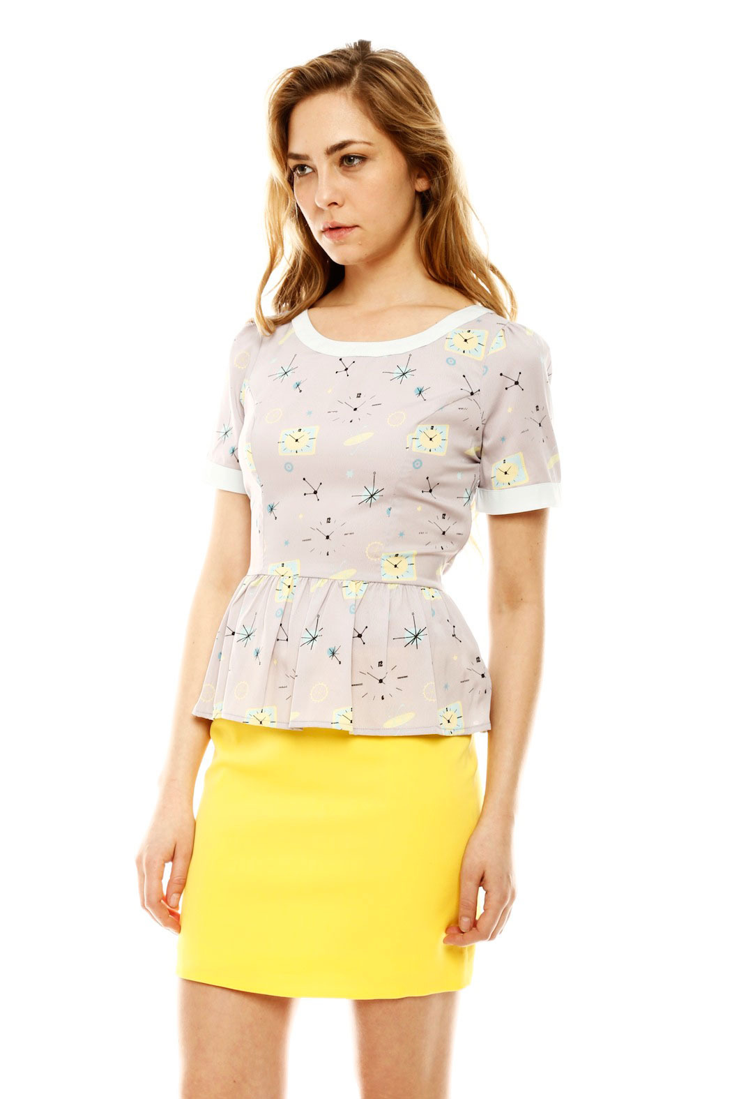 Yumi Atomic Peplum Blouse - Side Cropped Image