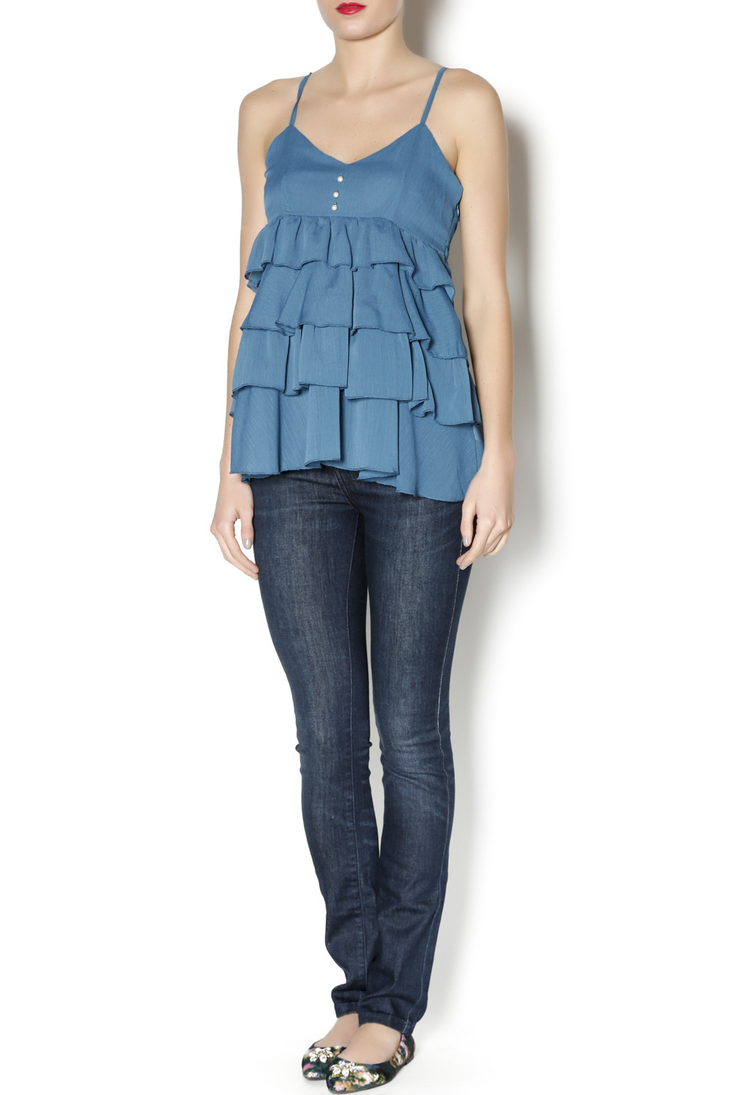 Elise Pearl Ruffle Top - Front Full Image