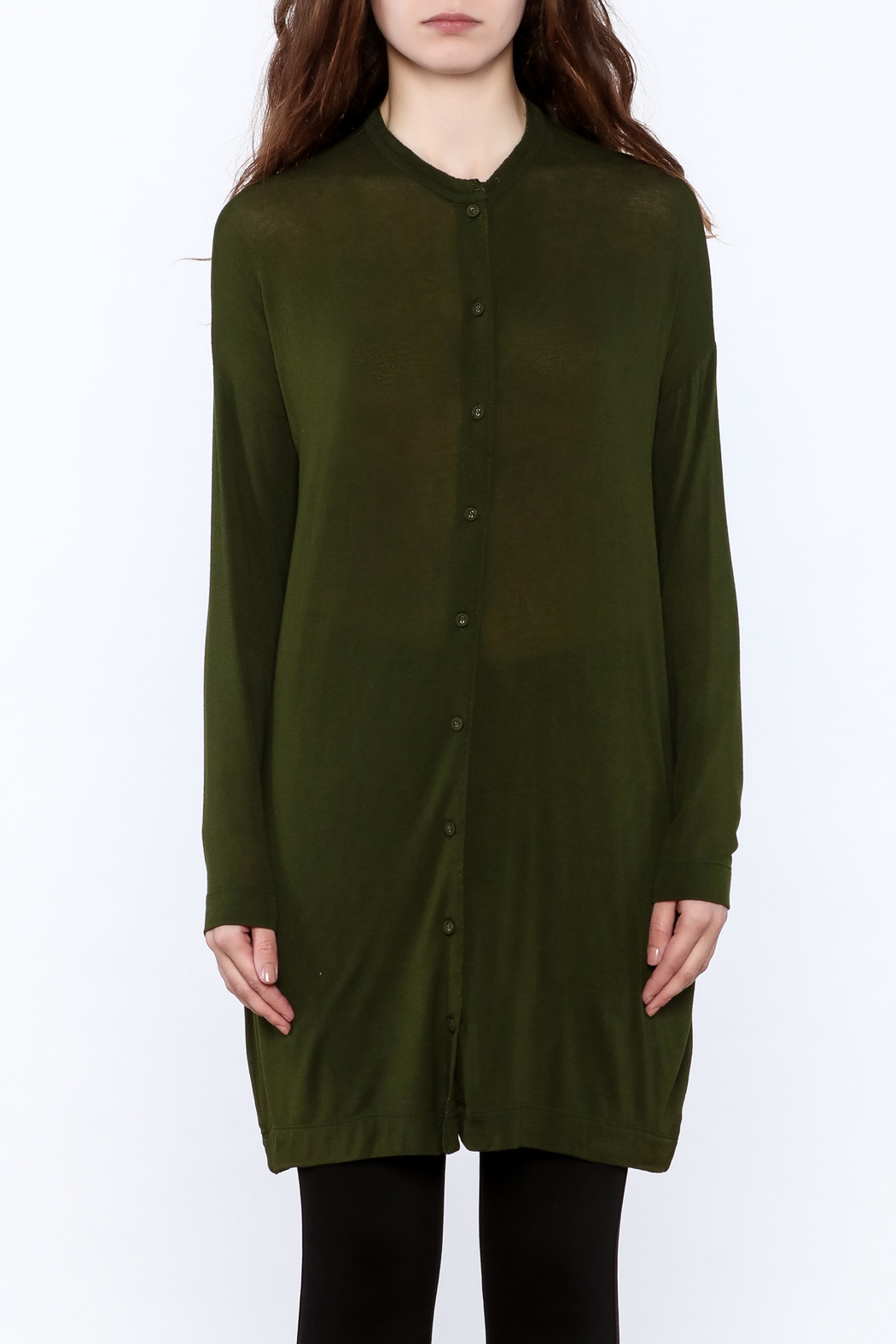 Bia Miro Olive Lightweight Cardigan - Side Cropped Image