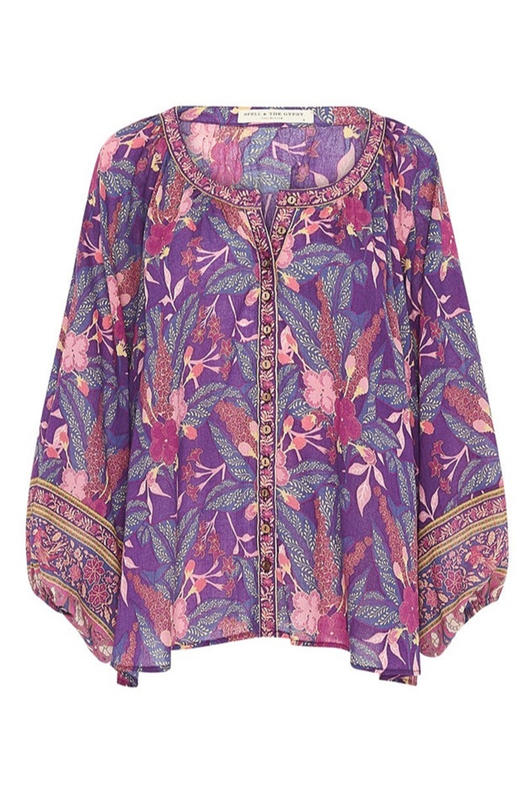 Spell  Bianca Blouse In Wisteria - Back Cropped Image