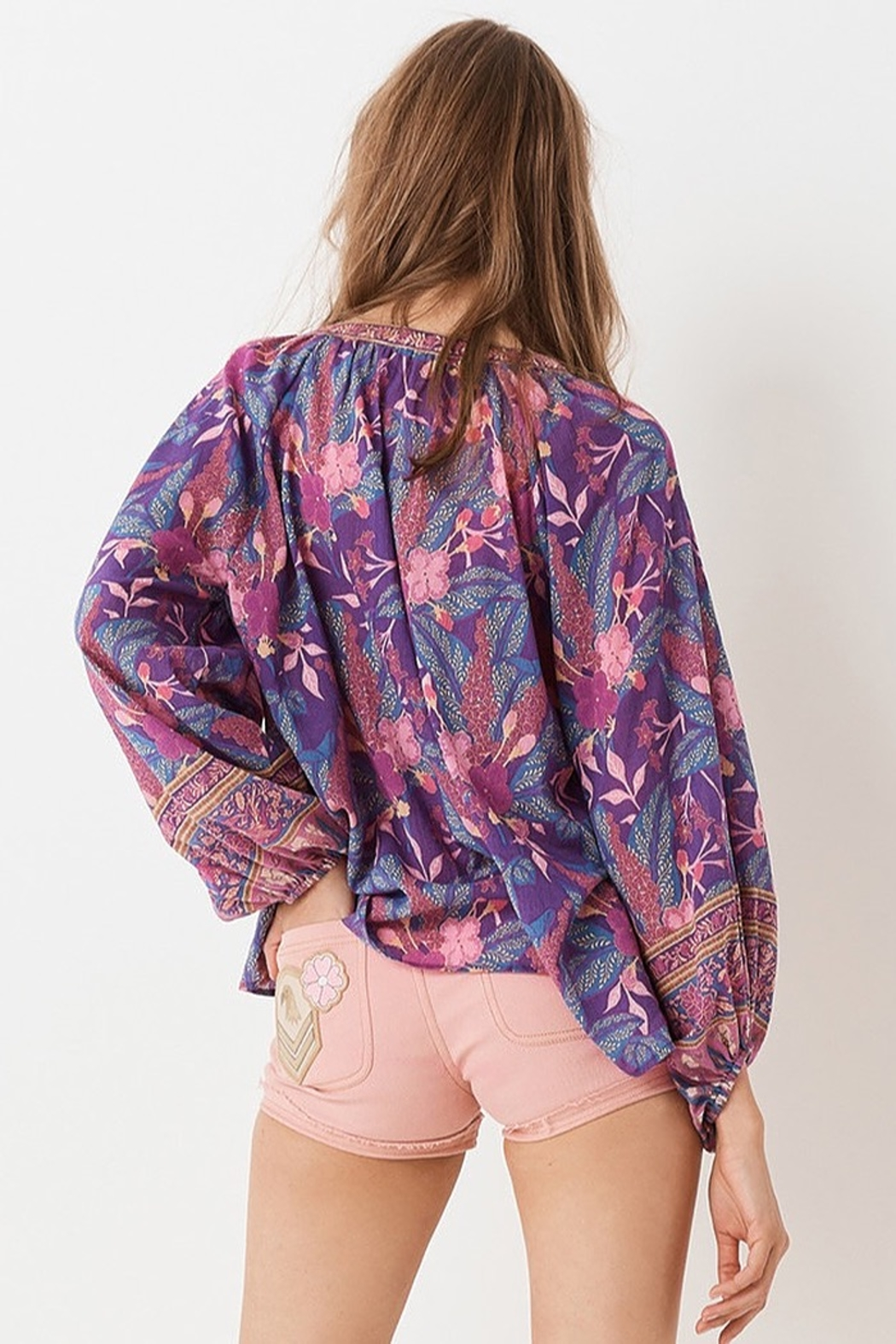 Spell  Bianca Blouse In Wisteria - Side Cropped Image