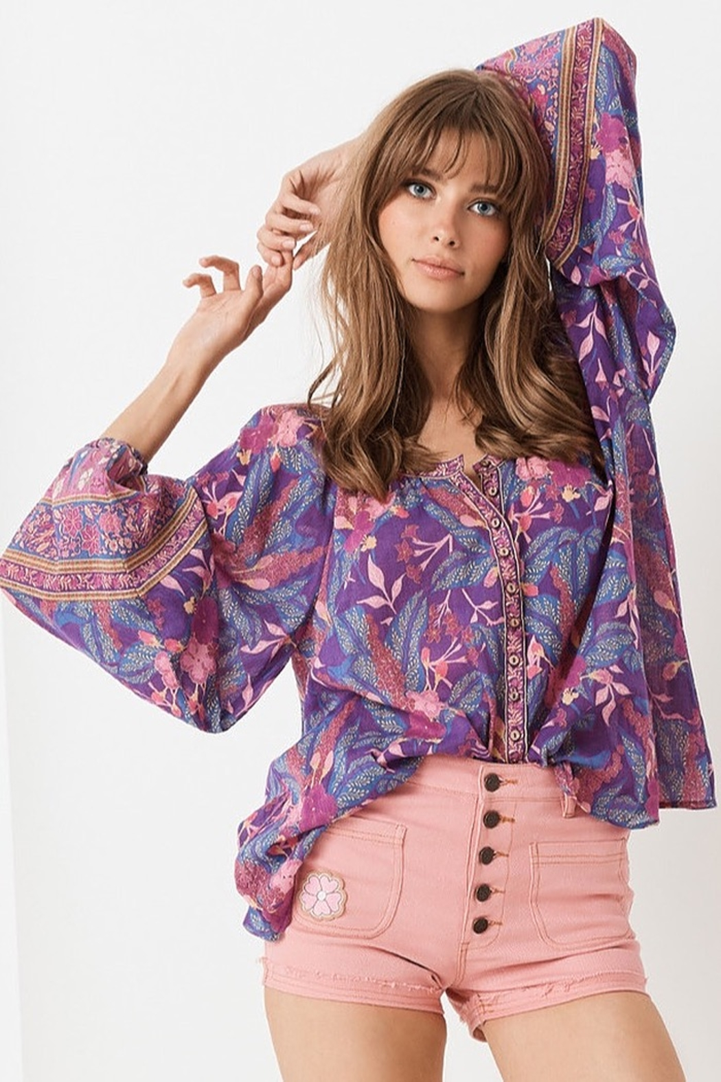 Spell  Bianca Blouse In Wisteria - Front Full Image