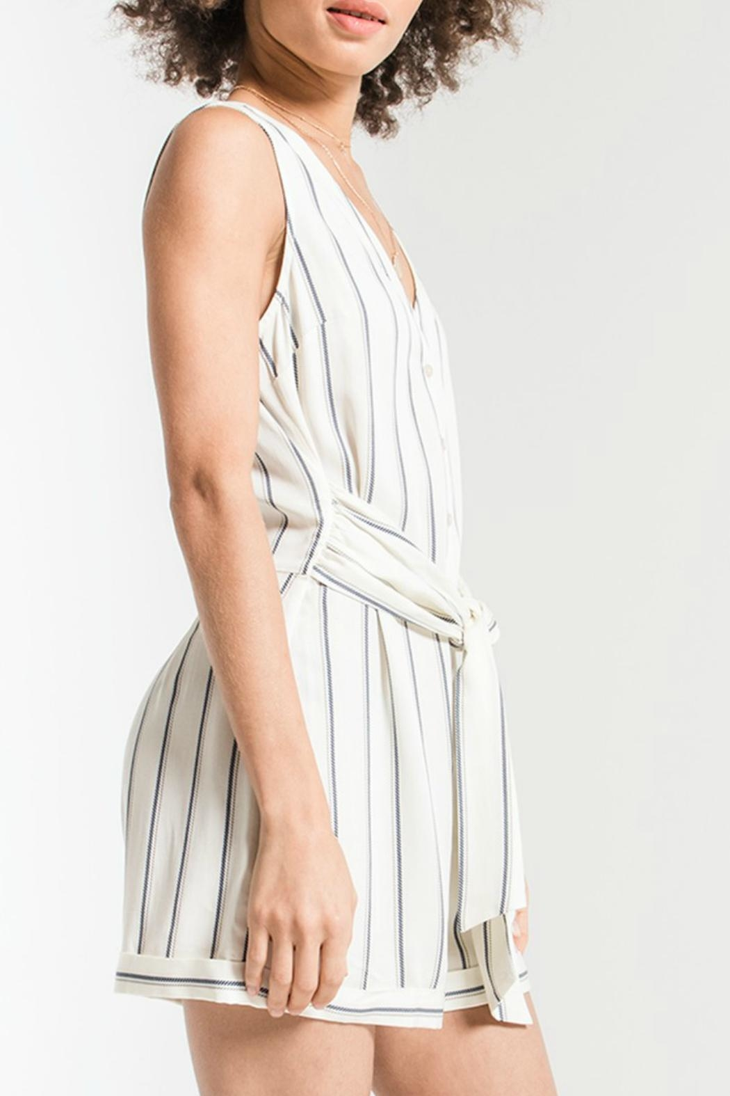 rag poets Biaritz Striped Romper - Side Cropped Image