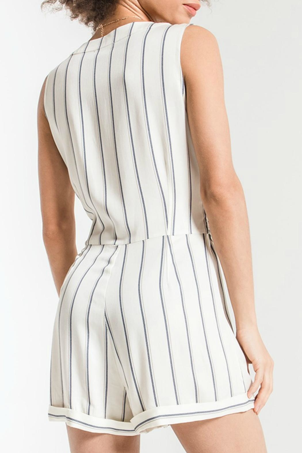 rag poets Biaritz Striped Romper - Front Full Image