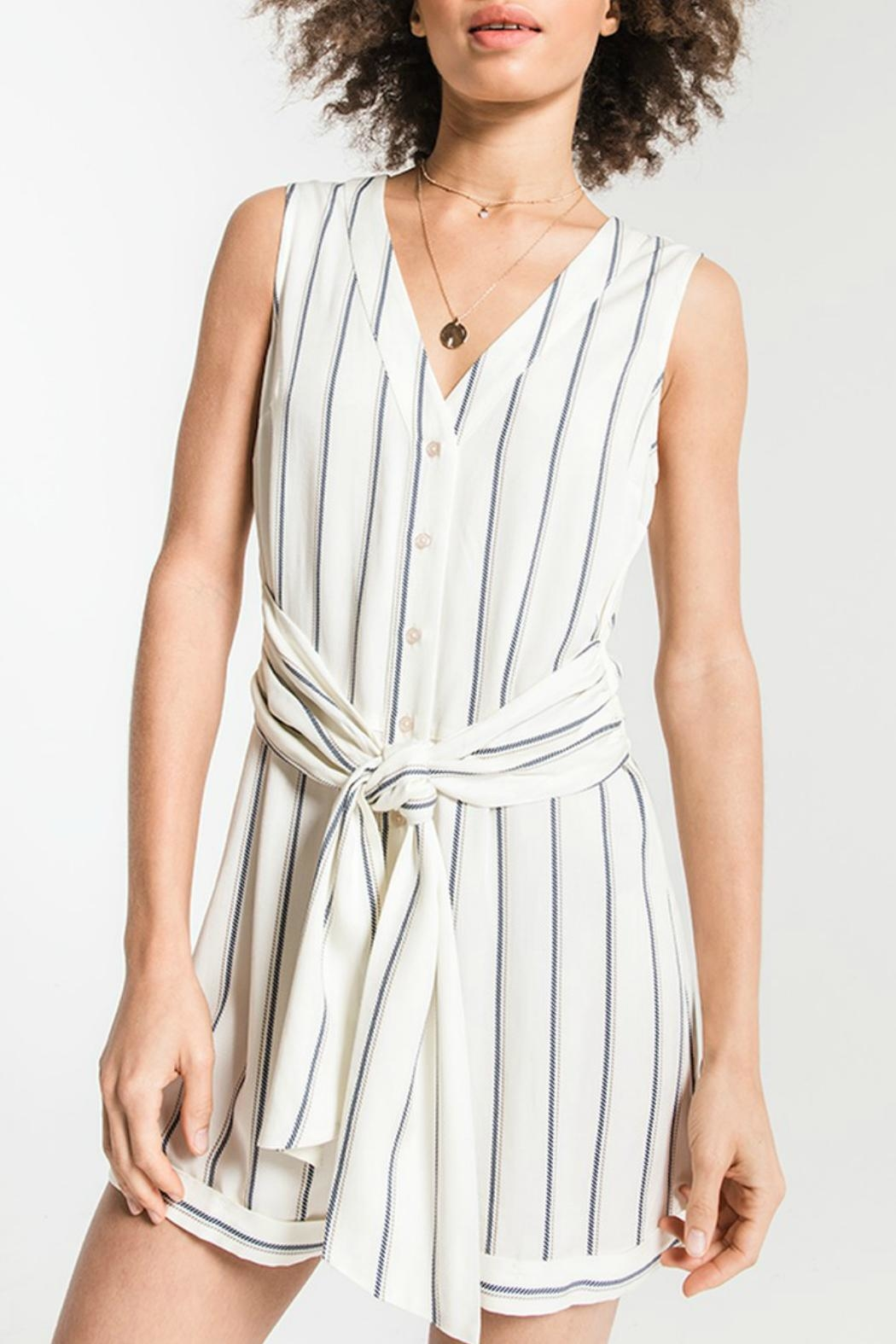 rag poets Biaritz Striped Romper - Front Cropped Image