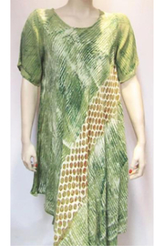 KIMBALS GREEN PRINT BIAS DRESS - Product Mini Image