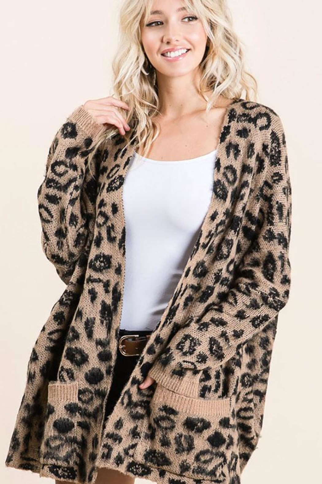 Bibi Animal Leopard Lightweight Open Front Cardigan - Side Cropped Image