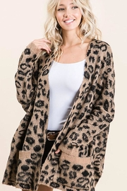 Bibi Animal Leopard Lightweight Open Front Cardigan - Side cropped