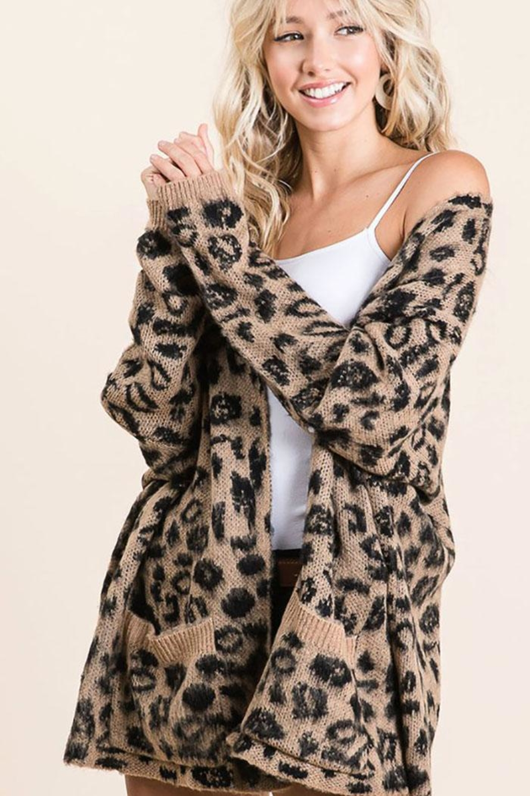 Bibi Animal Leopard Lightweight Open Front Cardigan - Front Cropped Image