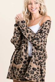 Bibi Animal Leopard Lightweight Open Front Cardigan - Front cropped