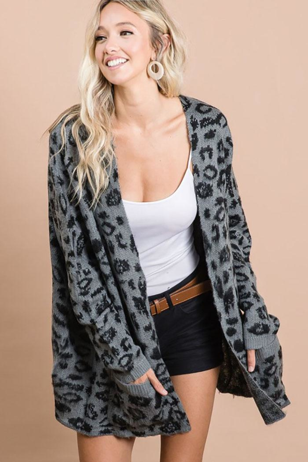 Bibi Animal Leopard Lightweight Open Front Cardigan - Front Full Image