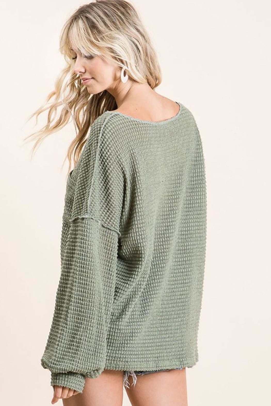 Mint Cloud Boutique Bubble Sleeve Waffle Top - Side Cropped Image