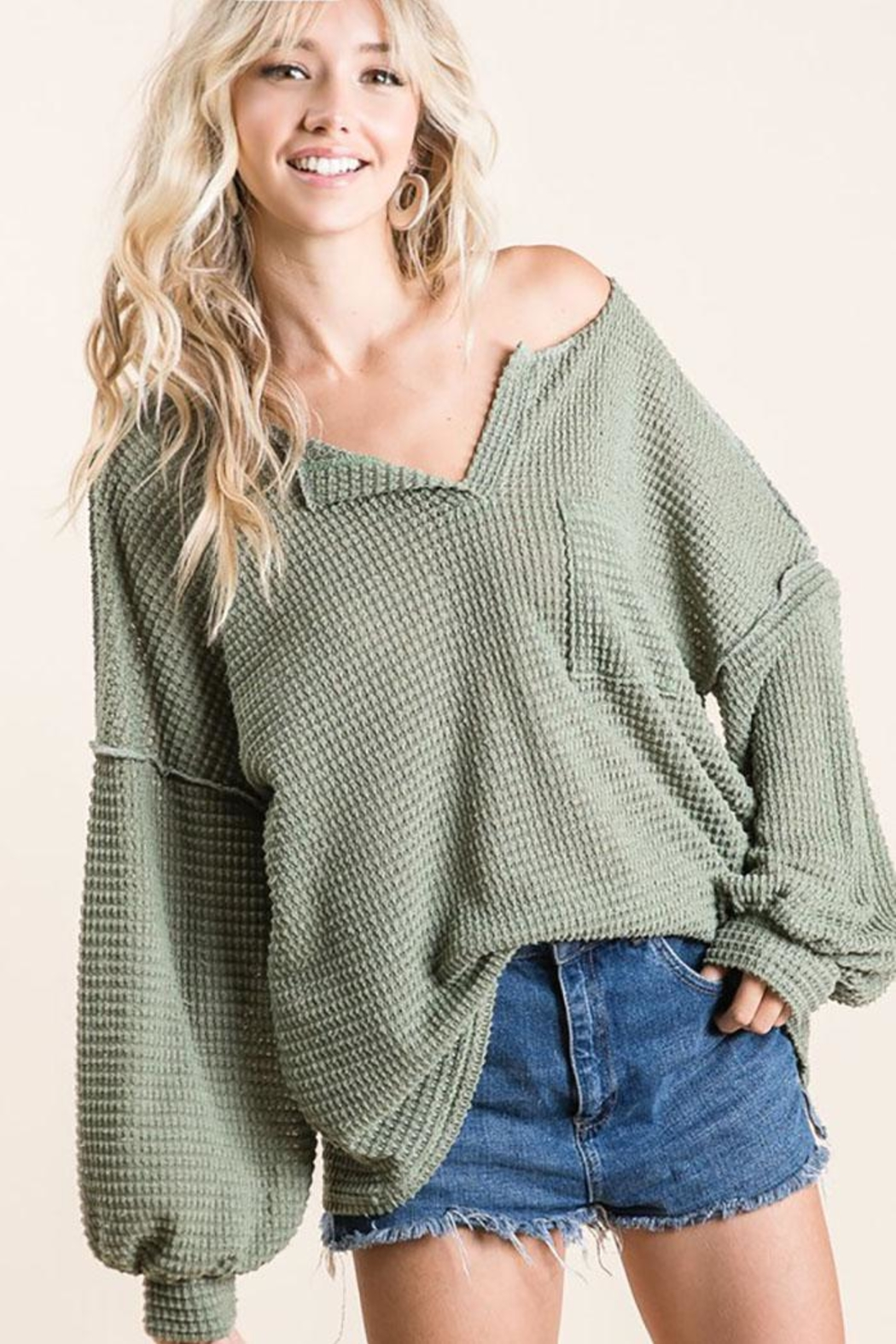 Mint Cloud Boutique Bubble Sleeve Waffle Top - Front Full Image