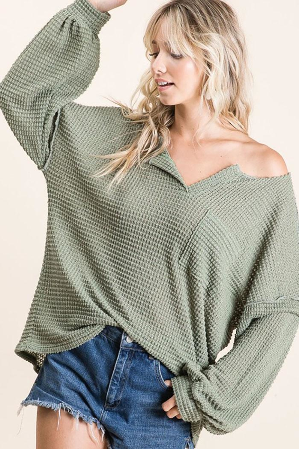 Mint Cloud Boutique Bubble Sleeve Waffle Top - Front Cropped Image