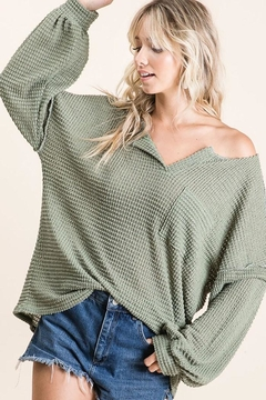 Bibi Bubble Sleeve Waffle Top - Product List Image