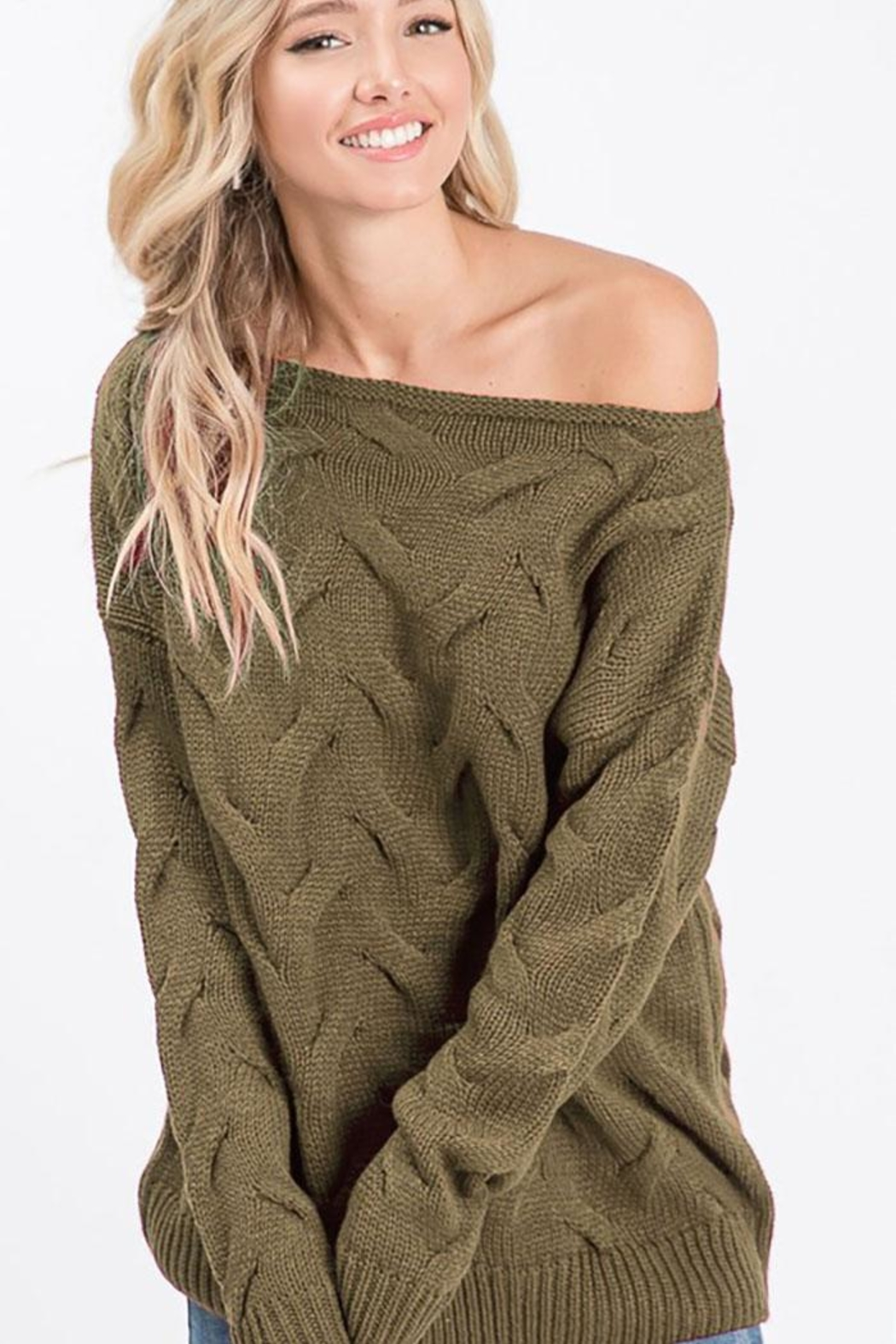 Bibi Cable Knit Wide Neck Sweater - Front Cropped Image