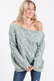 Bibi Cable Knit Wide Neck Sweater - Front cropped