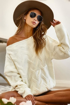 Shoptiques Product: Cable Knit Wide Neck Sweater