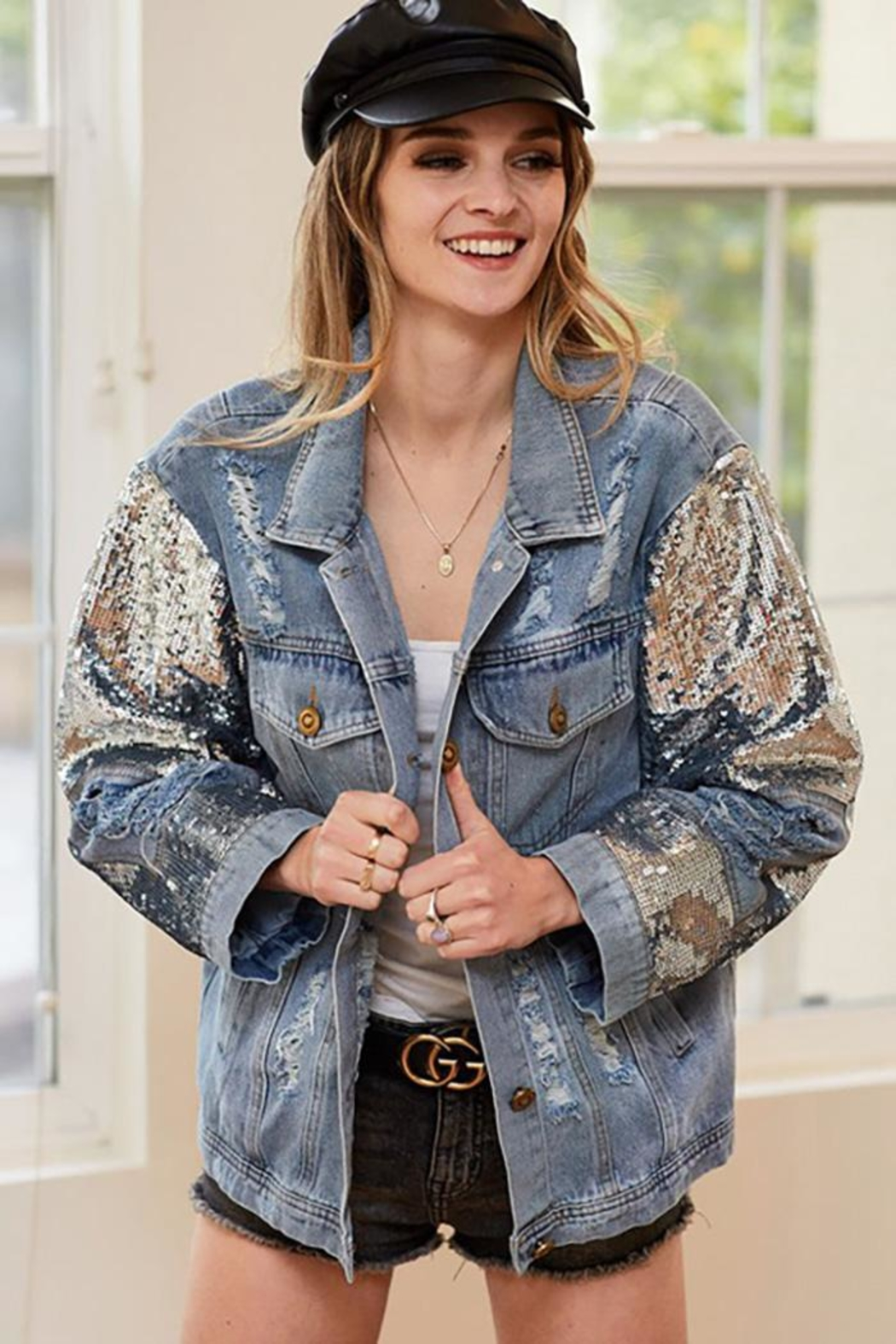 Bibi Distressed Denim Jacket With Sequin Detail - Front Cropped Image