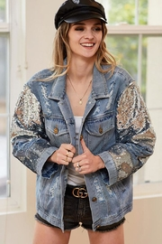 Bibi Distressed Denim Jacket With Sequin Detail - Front cropped