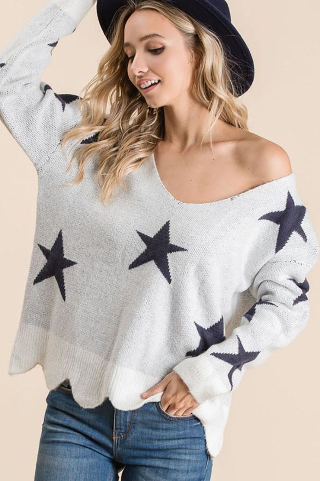 Bibi Fly High Star Pullover Sweater - Side Cropped Image
