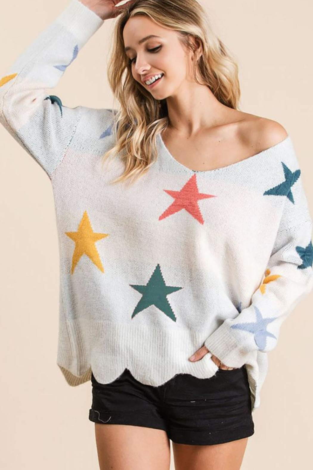 Bibi Fly High Star Pullover Sweater - Front Cropped Image