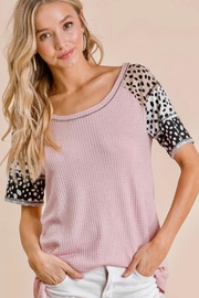 Bibi Light Pink Waffle Top With Animal Sleeves - Front cropped