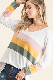 Bibi Multi Color Stripe Colorblock Long Sleeve Tunic Top - Front cropped