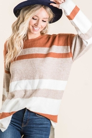 Bibi Multi Color Stripe Contrast Sweater With Side Slits - Product Mini Image