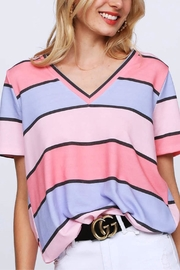 Bibi Multi-Colored Striped V-Neck - Front cropped