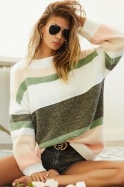 Bibi Multi Stripe Colorblock Knit Pullover Sweater Top With Bubble Sleeve - Product Mini Image