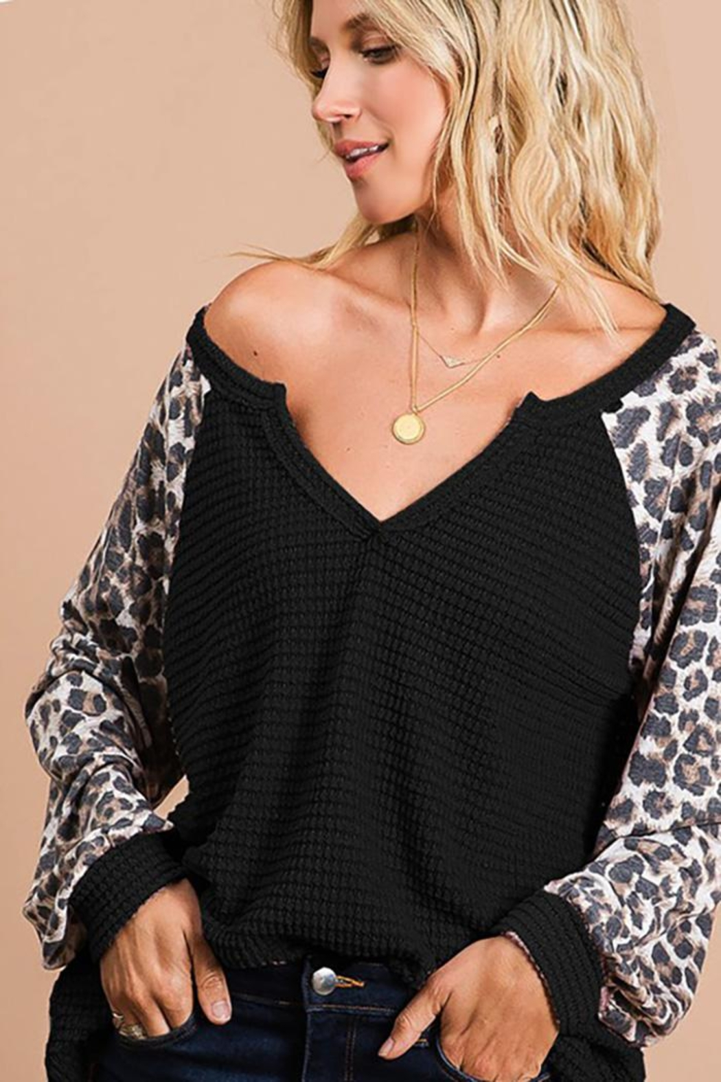 Bibi Popcorn Waffle Top With Contrast Block Sleeves - Main Image