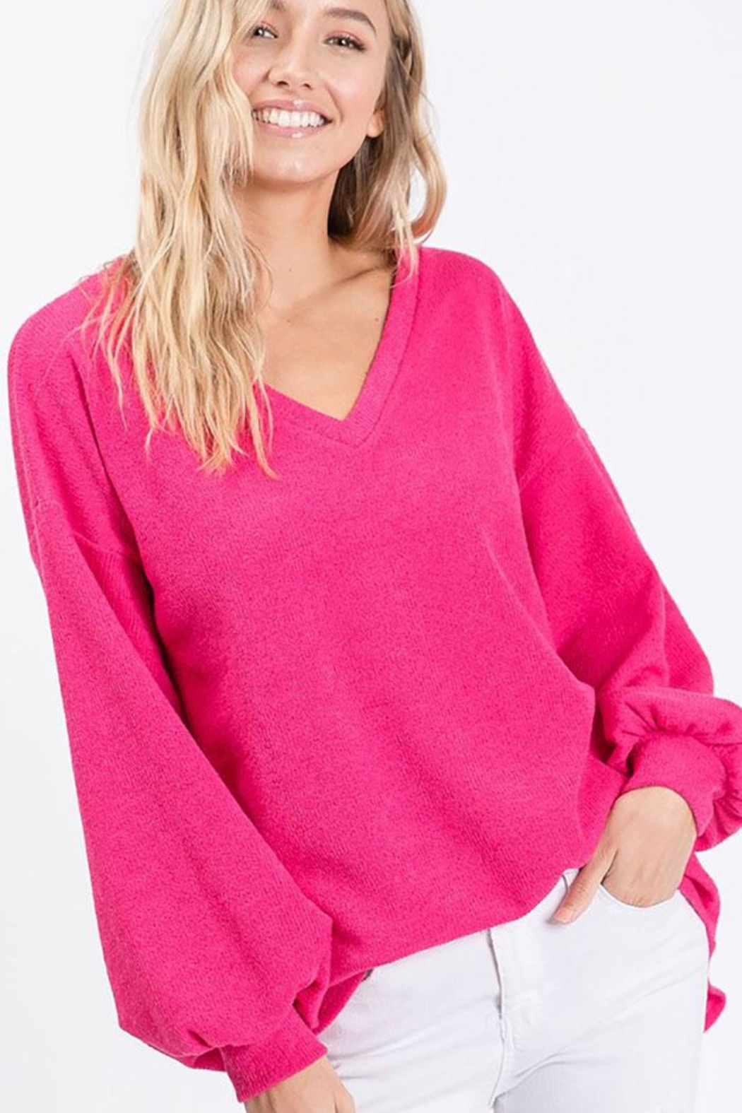 Bibi Soft Balloon Sleeve Top - Front Cropped Image