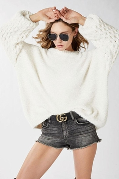 Shoptiques Product: Soft Knit Pullover Sweater With Cable Knit Weave Balloon Puff Sleeve